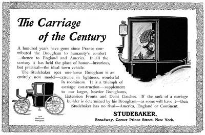 Turn Of The Century Drawing - Ad Studebaker Carriages by Granger