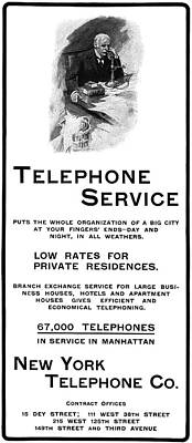 Turn Of The Century Drawing - Ad Telephone, 1901 by Granger