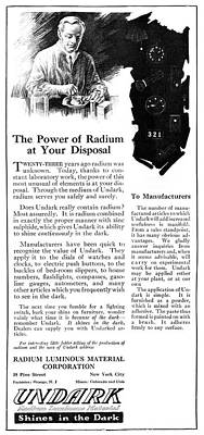 Luminous Drawing - Ad Undark, 1921 by Granger