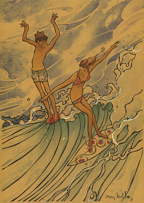 Surfing Art Painting - Adam And Eve 2 by Harry Holiday