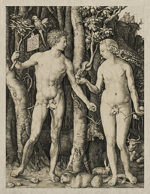Adam And Eve Art Print by Aged Pixel