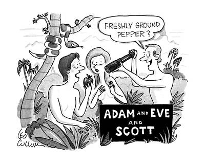 Religion Drawing - Adam And Eve And Scott by Leo Cullum