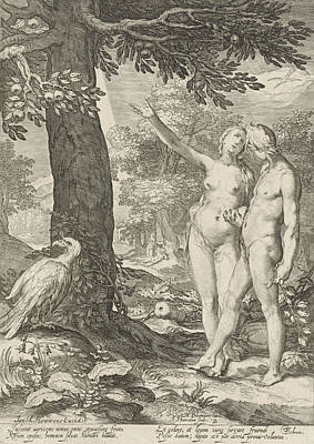 Knowledge Drawing - Adam And Eve Before The Tree Of Knowledge Of Good And Evil by Jan Saenredam And Abraham Bloemaert And Isack Houwens