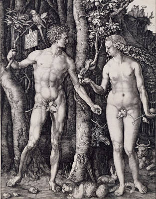 Adam And Eve Engraving Art Print by Albrecht Durer