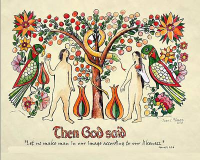 Hearts On Trees Painting - Adam And Eve Fraktur Art by Joan Shaver