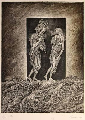 Adam And Eve Art Print by Leonid Stroganov