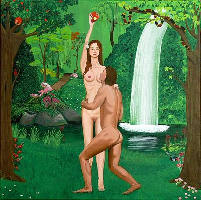 Colibri Painting - Adam And Eve by Mareen Haschke