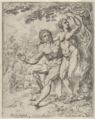 Passion Fruit Drawing - Adam And Eve Picking The Forbidden Fruit by Dirck Volckertsz Coornhert