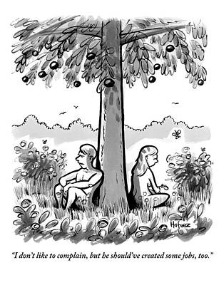 Eve Drawing - Adam And Eve Sit Back To Back Against A Tree by Kaamran Hafeez