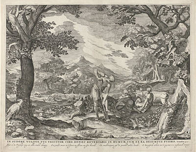 Cain Painting - Adam And Eve To Work Outside The Garden, Print Maker by Jan Saenredam And Abraham Bloemaert