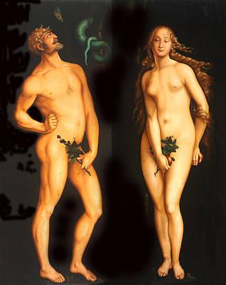 Religious Art Digital Art - Adam Eve And The Serpent by Hans Baldung