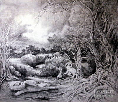 Beautiful Creek Drawing - Adam In Heaven by Mikhail Savchenko