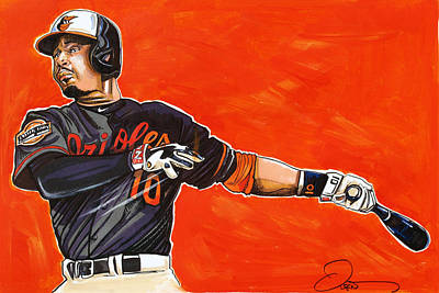 Baseball Art Drawing - Adam Jones by Dave Olsen