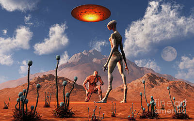 Arid Life Digital Art - Adam Meeting An Alien Reptoid Being by Mark Stevenson