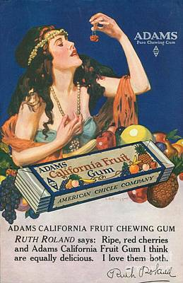 Nineteen-tens Drawing - Adams California Fruit Gum 1910s Usa by The Advertising Archives