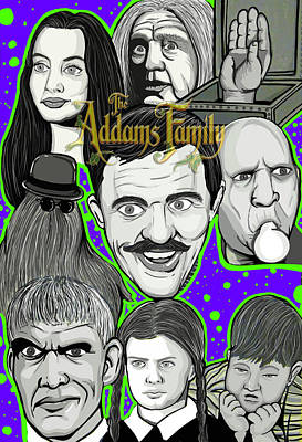 Painting - Addams Family Portrait by Gary Niles