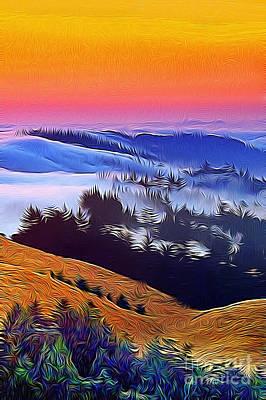 Marin County Digital Art - Fog Softly Touching The Trees by Wernher Krutein