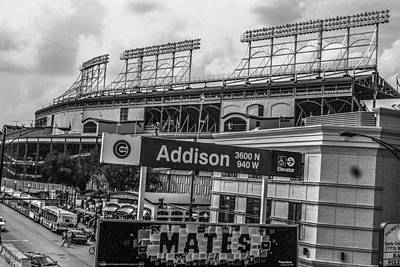 Photograph - Addison And Wrigley Black And White by John McGraw