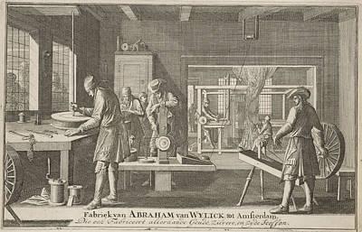 Rewind Drawing - Address Card Of Abraham Van Wylick, Caspar Luyken by Caspar Luyken