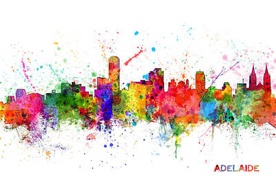 South Digital Art - Adelaide Australia Skyline by Michael Tompsett