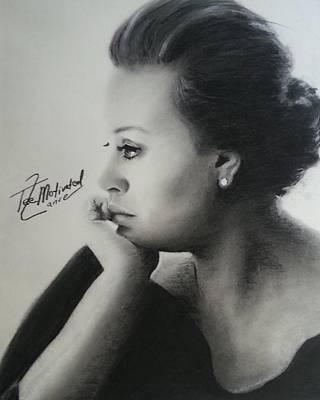 Adele Drawing - Adele Charcoal by Lance  Freeman