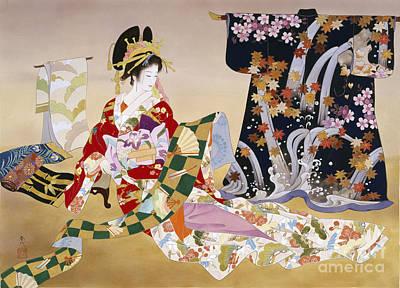 Textile Digital Art - Adesugata by Haruyo Morita