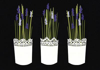 Mixed Media - Lavender Pots by Isobel Barber