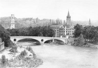 Romeo And Juliet Drawing - Adige River  Verona by Diane Cardaci