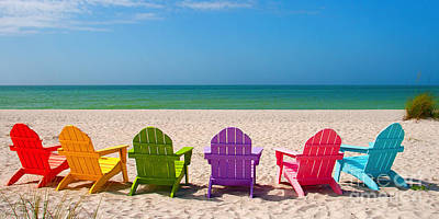 Beach Royalty-Free and Rights-Managed Images - Adirondack Beach Chairs for a Summer Vacation in the Shell Sand  by ELITE IMAGE photography By Chad McDermott