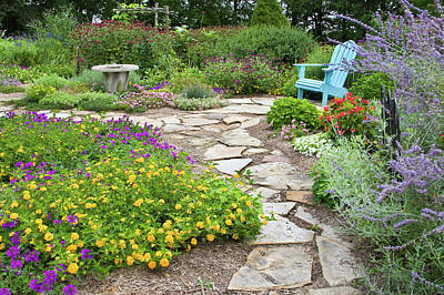 Adirondack Chair And Flowers Art Print