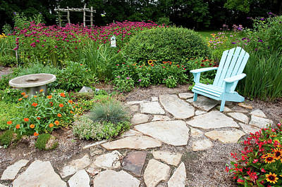 Begonia Photograph - Adirondack Chair, Birdbath by Panoramic Images