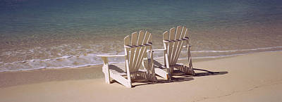 Adirondack Chair On The Beach, Bahamas Art Print by Panoramic Images