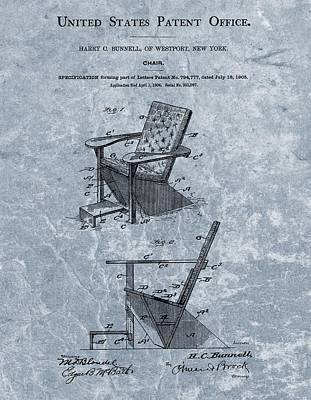 Sitting Mixed Media - Adirondack Chair Patent Blue by Dan Sproul