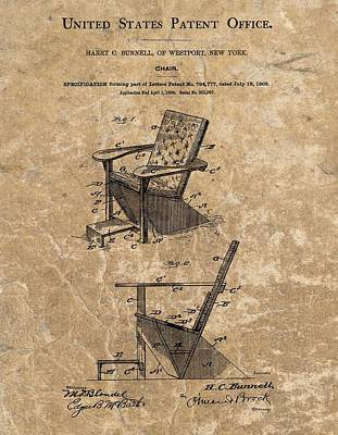 Sitting Mixed Media - Adirondack Chair Patent by Dan Sproul