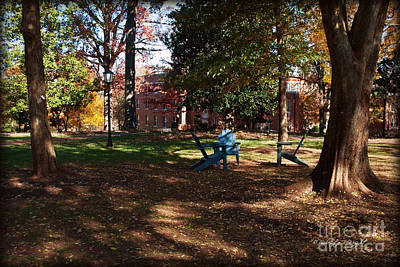 Photograph - Adirondack Chairs 2 - Davidson College by Paulette B Wright