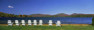 Adirondack Chairs At Lakeside, Blue Art Print by Panoramic Images