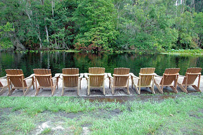 Photograph - Adirondack Chairs By Lake by RobLew Photography