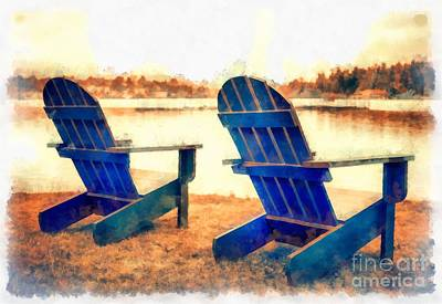 Adirondack Chairs By The Lake Art Print by Edward Fielding