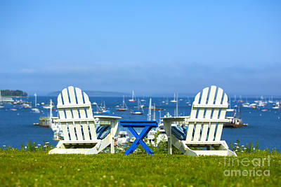 Sailboat Ocean Photograph - Adirondack Chairs Overlooking The Ocean by Diane Diederich