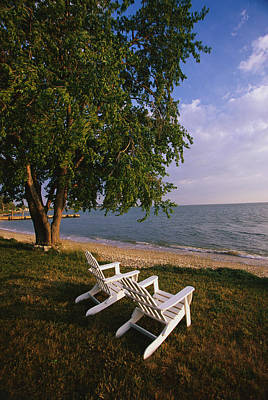 Chesapeake Bay Photograph - Adirondack Chairs by Panoramic Images