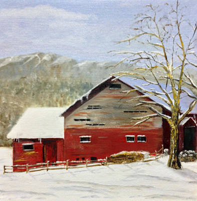 Red Barn In Winter Painting - Adirondack Red Barn by Lisa David