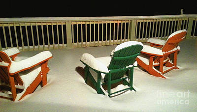 Deck-chairs Painting - Adirondack Winter Repose by Diane E Berry