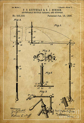 Bike Drawing - Adjustable Bicycle Parasol And Support Patent 2 by Pablo Franchi