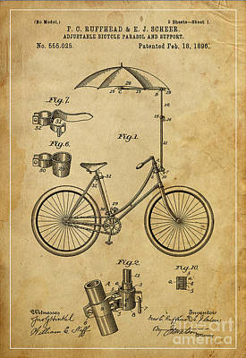 Bycicle Drawing - Adjustable Bicycle Parasol And Support Patent by Pablo Franchi