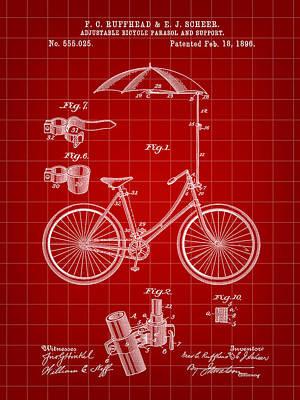 Triathlon Digital Art - Adjustable Bike Patent 1896 - Red by Stephen Younts