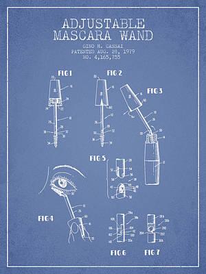Mascara Digital Art - Adjustable Mascara Wand Patent From 1979 - Light Blue by Aged Pixel
