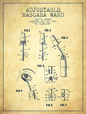 Mascara Digital Art - Adjustable Mascara Wand Patent From 1979 - Vintage by Aged Pixel