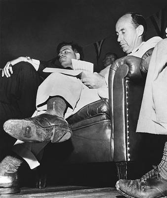 Personalities Photograph - Adlai Stevenson Hole In Shoe by Underwood Archives