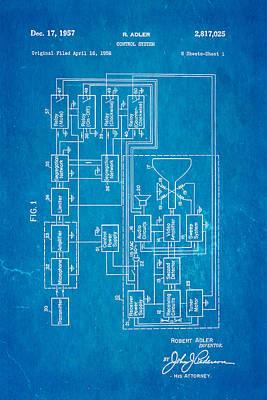 Adler Wall Art - Photograph - Adler Tv Remote Control Patent Art 1957 Blueprint by Ian Monk