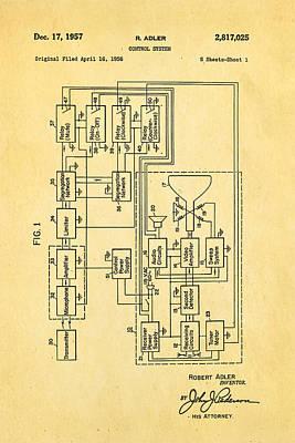 Adler Wall Art - Photograph - Adler Tv Remote Control Patent Art 1957 by Ian Monk
